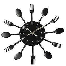 GUANGQING 31 cm Diameter Wall Clock Modern Design Silver Cutlery Kitchen Utensil 3D Spoon Fork Wall Clock for Living Home Decor Living Room Bedroom Office Wall Clock