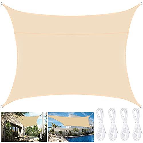 Amzeeniu Toldo Vela de Sombra Rectangular 2x3m Protección UV, Toldo con Protección Solar,Toldo de Vela Solar para Jardín Oxford a Prueba de Impermeable para Exteriores Patio Terraza Balcón,Crema
