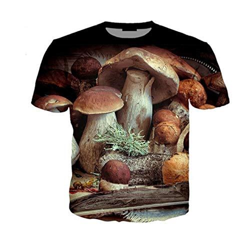 SGJKG Été 3D Champignon Imprimé T-Shirt Imprimer T-Shirt Mignon O-Cou À Manches Courtes Hip Hop Streetwear-4XL