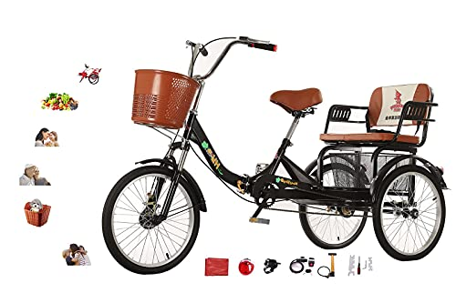 FGVDJ Triciclo para Adultos para Padres Triciclo Plegable de Bicicleta de 3...