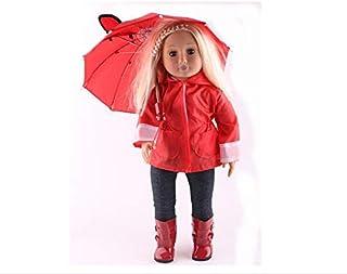 4 قطع من ملابس سترة المطر تتضمن جاكت وقبعة وبنطلون وحذاء طويل ومظلة وقميص لدمية الفتيات الأمريكية 18 بوصة و43 سم لدمى بورن...