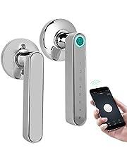 Smart Deursloten, Smart Biometrische Vingerafdruk Deurslot, Keyless Bluetooth Deurslot, Home Security Wachtwoord Deurslot met Vingerafdruk Deur Handvat, APP Controle, voor Home Security (Chrome)