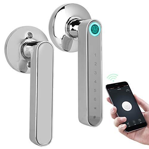 Cerraduras de puerta inteligentes, Cerradura de puerta con huella digital biométrica inteligente, Cerradura de puerta con Bluetooth sin llave(Cromo)