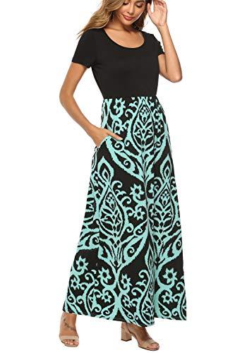 Zattcas Maxi Dresses for Women Summer Casual Long Dresses with Pockets,Black Aqua,Medium