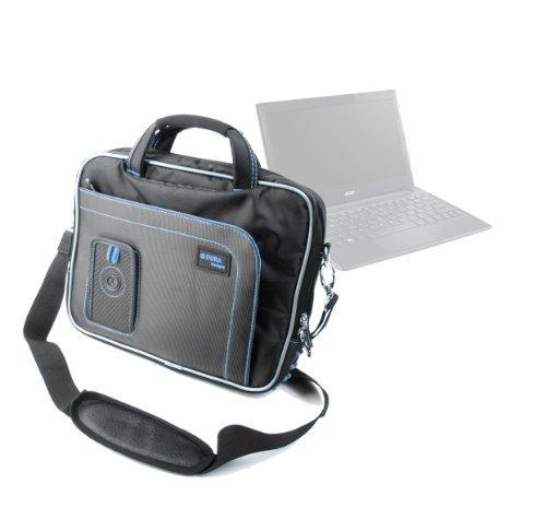 """DURAGADGET Sacoche Housse de Protection en Nylon Noir/Bleu pour Acer Travelmate B113 et X313 Ordinateur Portable 11.6"""" Intel Celeron/Pentium et Core i3 - poignée rembourré"""