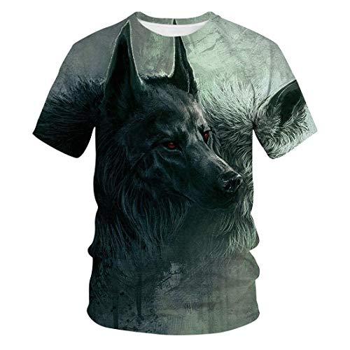 Sommer Wolf 3D Casual Trend Mode Rundhals Kurzarm T-Shirt MäNner Und Frauen