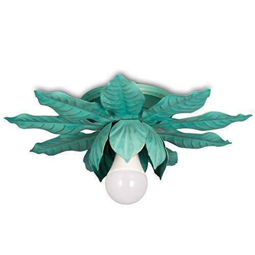 Helios Leuchten 8198 Florentiner LED Deckenleuchte grün | florale Lampe Leuchte | Blätter Deckenlampe Landhausstil | ein-flammig
