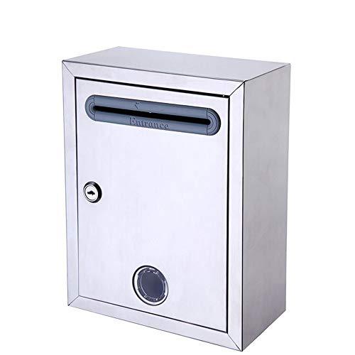 YoLiy Briefkästen abschließbar Vorschlagsbox mit Schloss, Wandmontage, Briefkasten, Schlüsselkasten, Karten, Safe Lock Box, Wahlurne, Spendenbox, einfach zu installieren, silber, 21x11x27cm