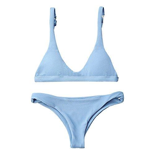 ZAFUL Women Padded Scoop Neck 2 Pieces Push Up Swimsuit Revealing Thong Bikinis V Bottom Style Brazilian Bottom Bra Sets(Light Blue M)