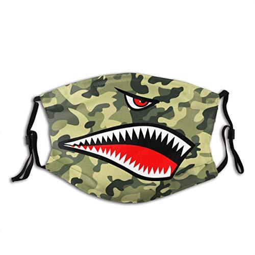 Flying Tigers P-40 Warhawk Shark Mouth Teeth Nose Washable Reusable Face Bandanas Balaclava Mask with Adjustable Elastic Strap