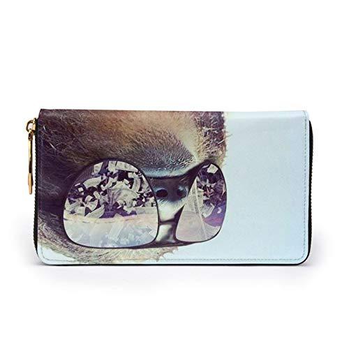 Perezoso con gafas de sol de cuero impreso cartera mujeres cremallera bolso embrague bolsa de viaje tarjeta de crédito titular monedero, Black (Negro) - Black-48
