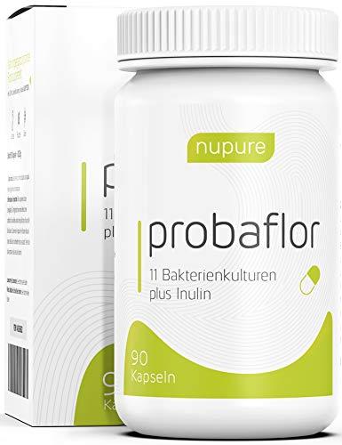 Nupure Probaflor - 3 Monatsvorrat - Kulturen Komplex - 90 magensaftresistente Kapseln mit Milchsäurebakterien, Bifidobakterien plus Inulin