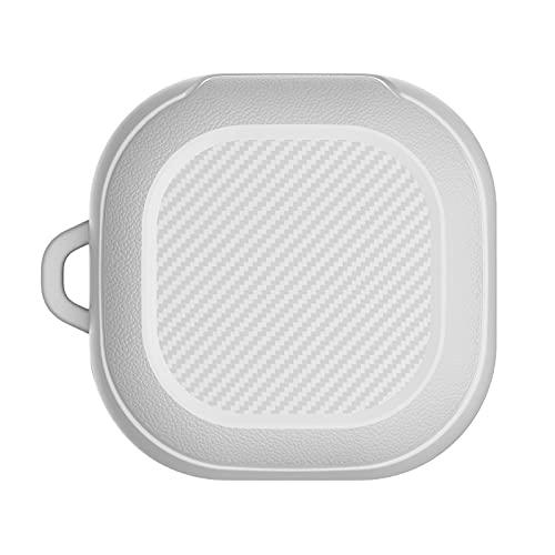 hukezhu Hülle für Samsung Galaxy Buds2 - Bluetooth Headset TPU Silikonhülle mit Karabiner, Galvanisieren PC Kratzfest Stoßfest Schutzhaut Wireless Charging Case (Weiß, One Size)