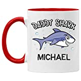 Veracco Daddy Shark Customized & Personalize White Ceramic Coffee Mug With Text Upload On Image Funny Great Gift For any Occasion Best Friend Fathers Day For Dad (Red Handle, Ceramic)
