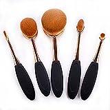 Yoseng Oval Foundation Brush 5 Pcs Toothbrush makeup brushes(Black handle rose gold)