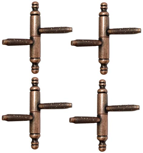 AERZETIX: 4x Bisagra perno de enroscar nodos jarrones para puerta Ø14х90mm (Cobre viejo)