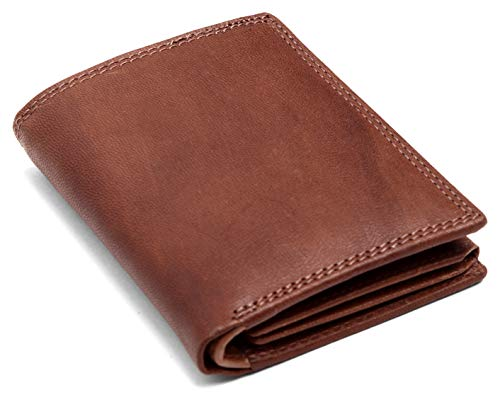 radis RFID Linkshänder Geldbörse,Portemonnaie,Braun Vintage,Echtes Leder