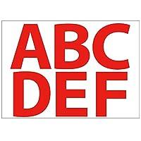 [ABポスター] A4サイズ 切り文字カッティングシート 貼り文字 ガラス文字 装飾文字 アルファベットシール (赤文字:A~F, 10cm・355pt)