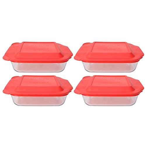 Pyrex (4) 222 Square Glass Baking Dishes & (4) 222-PC Red Lids