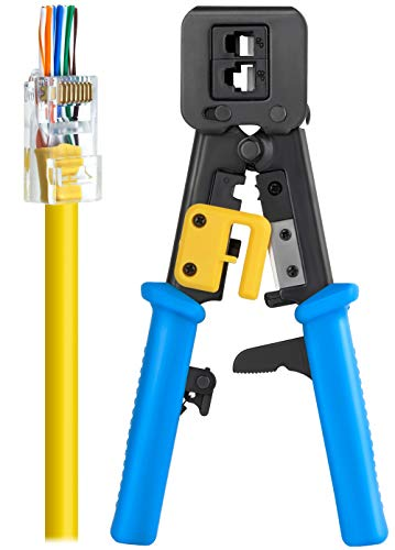 RJ45 Crimp Tool for Pass Through Connector End | EZ Cut, Strip, & Crimp Electrical Cable | Heavy Duty Crimper for RJ11 & RJ45 Plugs | Professional Networking Cat5/5e & Cat6, Tools & Accessories