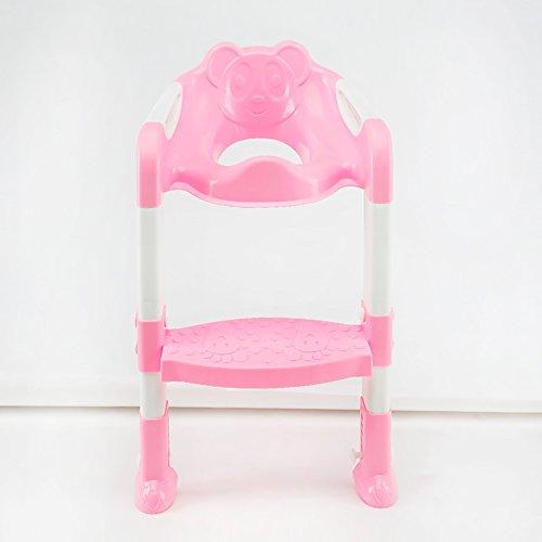 LJHA Tabouret pliable Support de toilette pliable d'enfants/tabouret à gradins de bébé/anneau créatif de toilette/chaise de toilette chaise patchwork (Couleur : Rose)