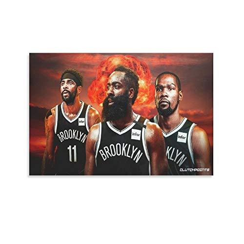 Póster de Brooklyn Nets Harden, Kyrie Irving y Kevin Durant con el jugador real, el equipo más fuerte, el equipo estrella, los tres grandes pósters de las redes, jugador de baloncesto y arte de pared