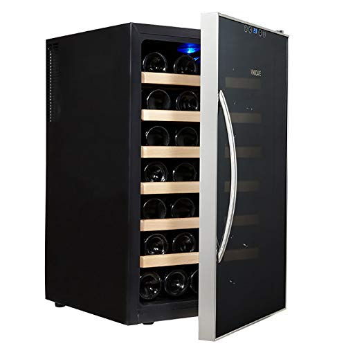 CLING Compresor 28 Botellas Enfriador Vino Refrigerador Gran Bodega Independiente Hidratación a Temperatura Constante Bloqueo de luz Absorción silenciosa Impactos Control Digital de Temperatura