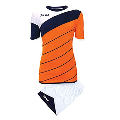 Zeus Kit Lybra Uomo Homme Football à Cinq Maillot Short pour Football Orange Bleu (XXL)