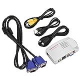 Zerone VGA a RCA PC Converter Box S Convertidor de Video VGA a TV AV RCA Adaptador de señal...