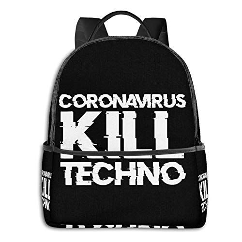 Anime & Final & Coronavirus Kill Techno Tapestry Student School Bag School Cycling Leisure Travel Camping Outdoor Backpack
