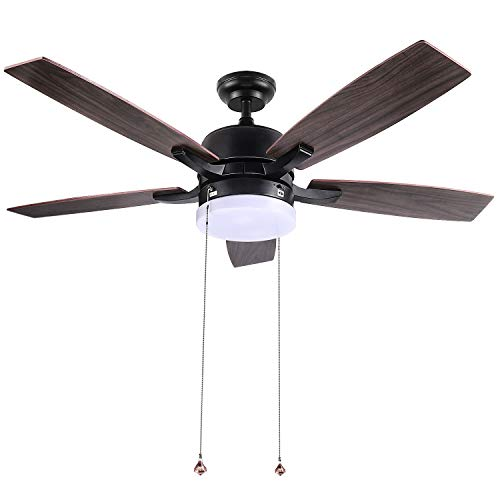 """Ceiling Fan, 52"""" Indoor and Outdoor Ceiling Fan with Lights, Dual-Use for Winter and Summer, 5 Solid Wood Fan Blades, Silent Reversible Motor with Noise ≤50db, Two 25W LED Lights, Zipper Control-CF01"""