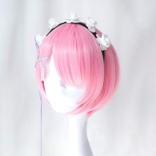 WUX Re: La vida en un mundo diferente de cero (rem/ram) Anime Cosplay Rose Net Pelucas Gradiente Fibra resistente a altas temperaturas Cabello corto y liso rosado 14 pulgadas