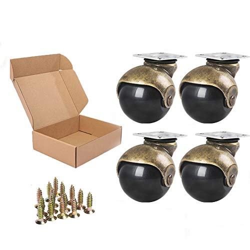 Anyke 1.5' Furniture Casters Small Ball Casters Vintage Antique Glod Cabinet Wheels for Table Chairs Ottoman Set of 4(Screws Included)