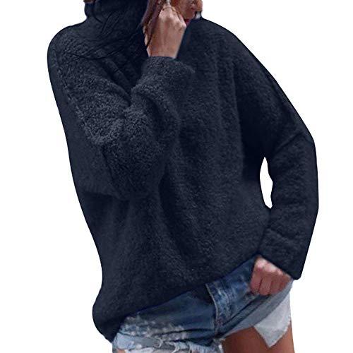 Damen Mantel Wintermantel Teddy Langarm Elegant MYMYG Frauen Casual Herbst Langarm Plus Warm Plüsch Rollkragen T-Shirts Tops Bluse(Schwarz,EU:38/CN-L)