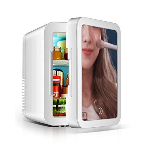 Mini frigo per Bevande 5L Frigo per Auto Silenzioso Frigo da Campeggio Frigo da Campeggio 12V Specchio per Porta in Vetro Frigorifero per Bevande Piccolo 12V / 220V con Luce a LED