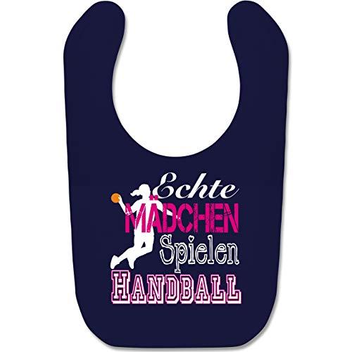 Sport Baby - Echte Mädchen Spielen Handball weiß - Unisize - Navy Blau - handball baby - BZ12 - Baby Lätzchen Baumwolle