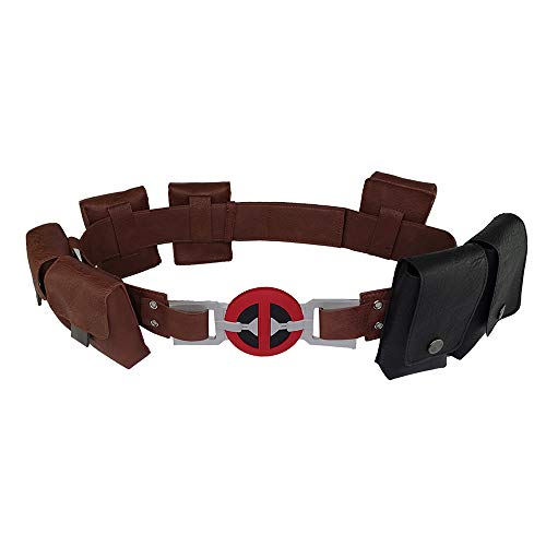 CrazyCatCos Deadpool Cosplay Belt with Pockets Pouches Bag New Movie Version Wade Leather Waist Belt Halloween Costume Props Brown