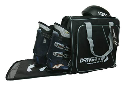 Driver13 ® Zaino per Scarponi da Sci con Scomparto per Casco + Zaino per Orologio da Sci con Scomparto per Casco per Scarponi da Snowboard + inliner + Borsa per Scarponi Nero-Grigio