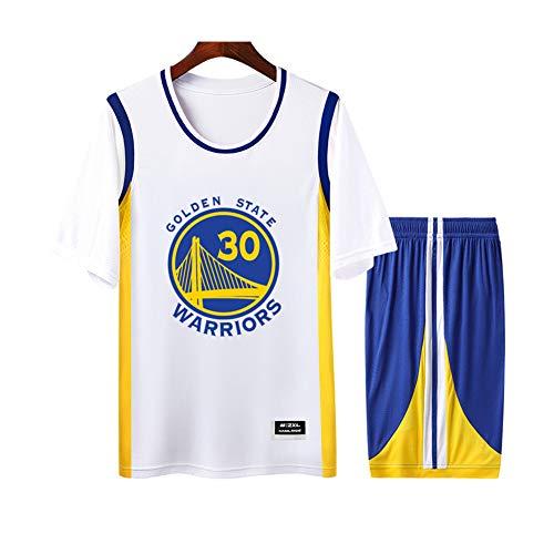 Curry Warriors #30 Weiß Herren Damen Atmungsaktiv Basketball Trikot Rundhals Fake Zweiteiler Kurzarm Jersey T-Shirt 2er Set (S-4XL) XXXX-Large farbe