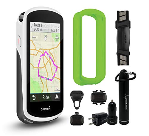 Garmin Edge 1030 GPS Cycling Computer with Original Garmin Silicone Case and Wearable4U Power Pack Bundle (Performer Bundle, Green)