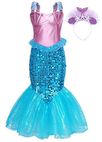 AmzBarley Meerjungfrau Kostüm Kleid Kinder Mädchen Kostüme Prinzessin Kleider Karneval Halloween Cosplay Kleid Geburtstag Party Ankleiden