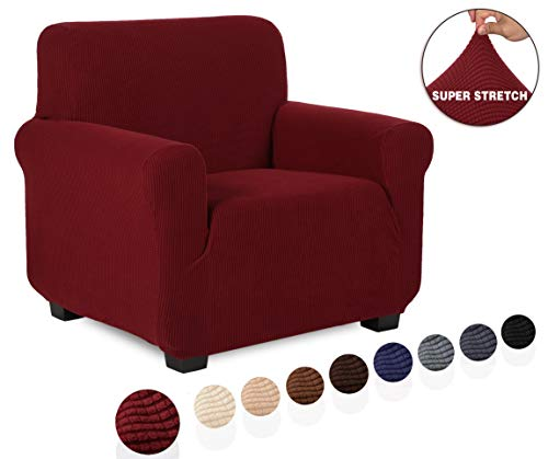 TIANSHU Funda de sillón,Material Jacquard poliéster y Elastano Fundas de sofá Suaves Resistentes(Funda de sillón,Burdeos)