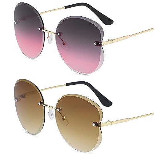 HFSKJ Pack de 2 Gafas de Sol, Gafas de Sol para niños Gafas con protección UV con Ribete Retro Poligonal Las Gafas sin Montura Son adecuadas para Hombres y Mujeres,A