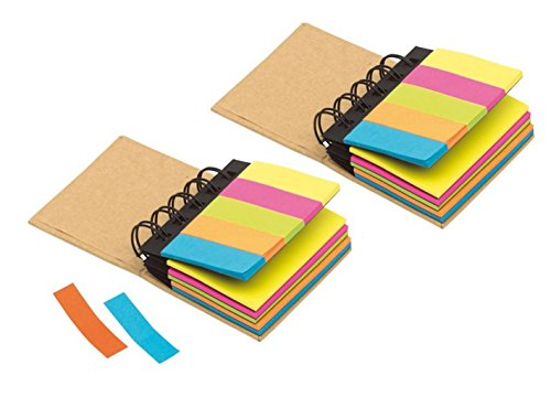 2er Sparpack Haftzettel Box Multi Memo Notizblock Konferenzmappe, braun