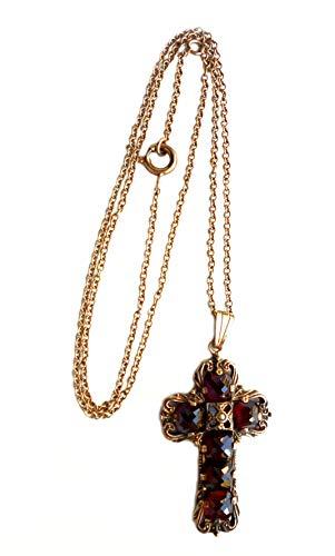 Granat Kreuz Collier 925er Silber rosévergoldet + Granatsteine + kleine Perle Made in Germany + Ankerkette 50 cm + Geschenkbox