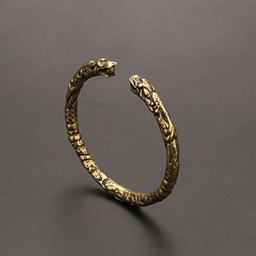 YOPDNE Pulsera de cabeza de dragón retro dominante cobre puro apertura artesanal regalo