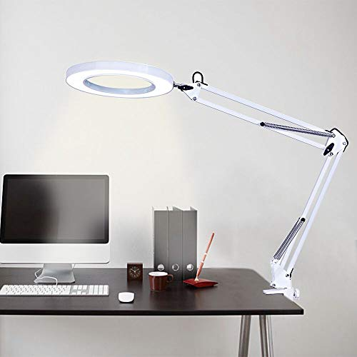 LED Desk Lamp, Swing Arm Architect Task Lamp with Clamp, Eye-Caring Dimmable 3 Color Modes Drafting Table Lamp/Office Light/Ring Light for Study, Reading, Crafts, Studio, Workbench Office – White