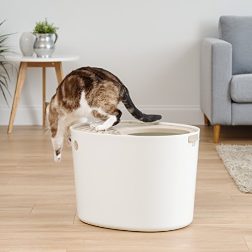 Product Image 1: IRIS USA, Inc. IRIS USA Top Entry Cat Litter Box with Cat Litter Scoop, White & Beige