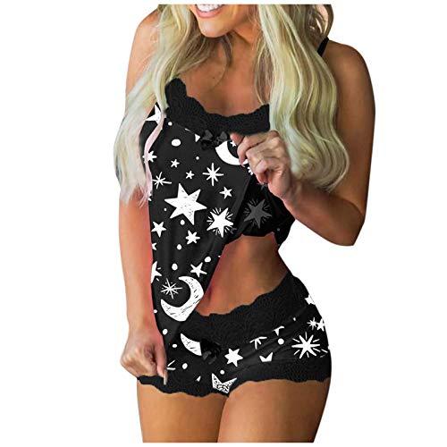 YANFANG 2 Pijamas para Mujer Conjuntos De Piezas Camisa sin Mangas + Pantalones Cortos Ropa Dormir Entero Sexy Mujeres Imprimir Sin Mangas Encaje Cami Shorts LenceríA Conjunto