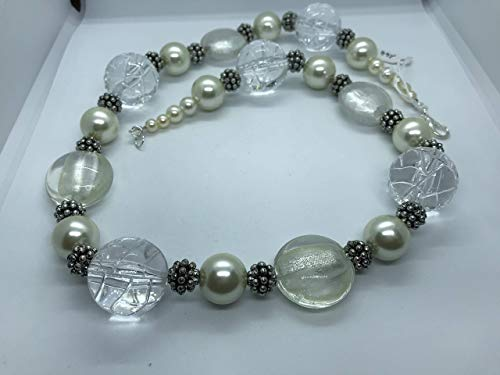 White and cream clear beads with antique style spacer berry necklace by Susan Jane Craker